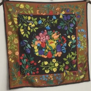 Vintage Gucci Butterfly Floral Design Silk Scarf